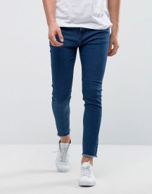 Only & Sons Skinny Medium Blue Jeans With Raw Edge afbeelding