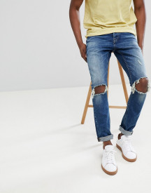 Only & Sons Slim Tapered Jeans With Open Knee Rips afbeelding