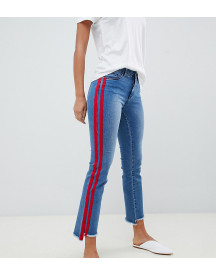 Only Tall Straight Leg Crop Jean With Sports Stripe afbeelding