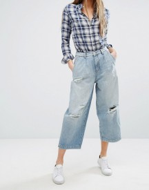 Only Wide Leg Crop Jean With Rips afbeelding