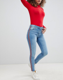 Parisian Cropped Skinny Leg Jeans With Side Stripes afbeelding