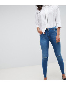 Parisian Tall Frayed Hem Skinny Jeans With Ripped Knee afbeelding