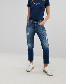Pepe Jeans Mid Rise Straight Leg Jean With Paint Splatter afbeelding