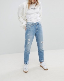 Pepe Jeans Violet High Waist Rigid Mom Jean With Distressing afbeelding