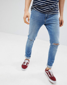 Pier One Slim Fit Jeans In Light Blue With Rips afbeelding