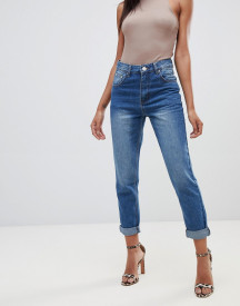 Prettylittlething Mom Jean In Mid Wash Blue afbeelding