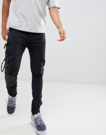 Profound Aesthetic D-ring Skinny Fit Cargo Jeans In Black afbeelding