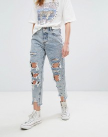 Pull&bear Bleached Super Distressed Mom Jeans afbeelding