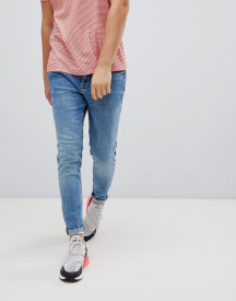 Pull&bear Carrot Fit Jeans In Mid Blue afbeelding