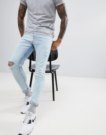 Pull&bear Skinny Jeans In Light Blue With Rips afbeelding