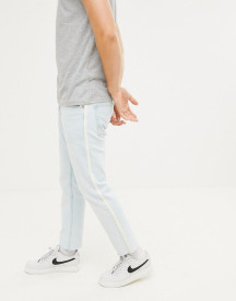 Pull&bear Slim Jeans With Taping In Light Blue afbeelding
