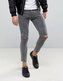 Pull&bear Super Skinny Cropped Jeans With Rips In Grey afbeelding