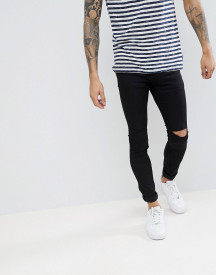 Pull&bear Super Skinny Jeans With Knee Rips In Black afbeelding