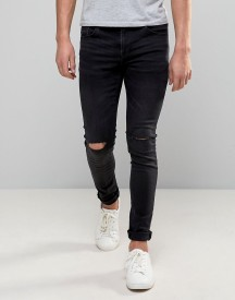 Pull&bear Super Skinny Jeans With Knee Rips In Washed Black afbeelding