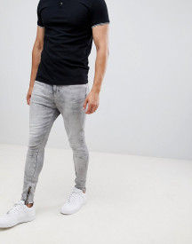 Religion Skinny Fit Jean With Stretch And Zips In Grey afbeelding