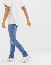 Religion Skinny Fit Jeans With Ripped Knee And Zip Hem afbeelding