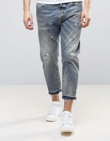 Selected Homme+ Jeans In Slim Cropped Fit With Distressing afbeelding