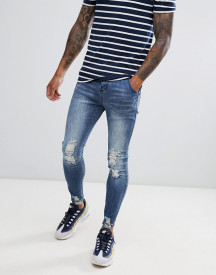 Siksilk Skinny Fit Jagged Hem Jeans In Washed Blue afbeelding
