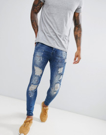Siksilk Skinny Fit Low Rise Jeans With Paint Splat In Dark Blue afbeelding
