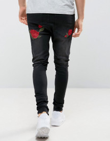 Siksilk Super Skinny Fit Jeans With Rose Embroidery afbeelding