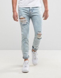 Siksilk Super Skinny Jeans In Acid Wash Blue afbeelding