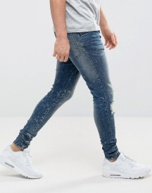 Siksilk Super Skinny Jeans In Mid Wash With Distressing And Zips afbeelding