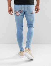 Siksilk Super Skinny Jeans With Floral Embroidery afbeelding