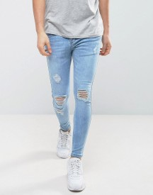 Siksilk Super Skinny Jeans With Ripped Knees afbeelding