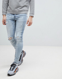 Sixth June Super Skinny Jeans In Light Wash With Distressing afbeelding