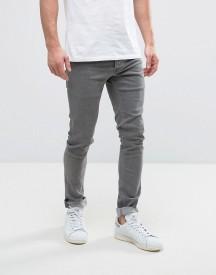 Solid Skinny Jeans In Washed Grey afbeelding