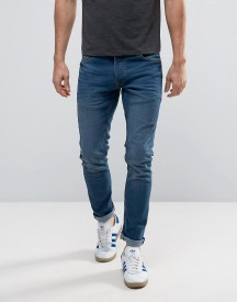Solid Slim Fit Jeans In Mid Blue Wash With Stretch afbeelding