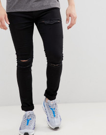 Soul Star Skinny Stretch Rip Jeans In Black afbeelding