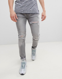 Soul Star Skinny Stretch Rip Jeans In Washed Black afbeelding