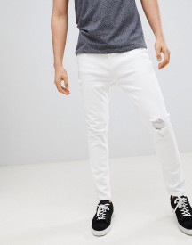 Stradivarius Rip & Repair Panelled Slim Fit Jeans In White afbeelding