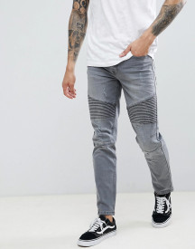 Threadbare Skinny Fit Biker Jeans In Grey Wash afbeelding