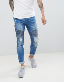 Threadbare Skinny Fit Biker Jeans In Mid Blue afbeelding