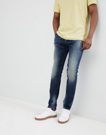 United Colors Of Benetton Skinny Fit Jeans With Abrasions In Mid Wash afbeelding