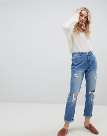 Urban Bliss Distressed Mom Jeans In Light Wash afbeelding