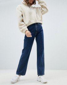 Weekday Row High Waist Jeans In Win Blue In Organic Cotton afbeelding
