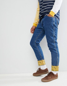 Wrangler Blue & Yellow Slim Tapered Jeans afbeelding