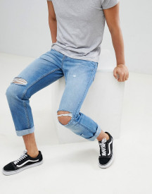 Yourturn Straight Jeans In Mid Blue With Rips afbeelding