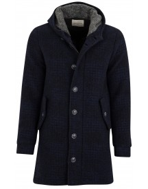 Sale Wool & Co Jas Navy Ruit Wol Blend Halflang afbeelding