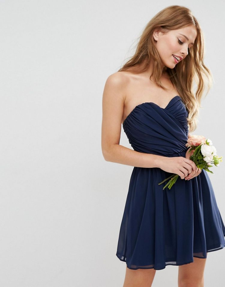Image Asos Wedding Chiffon Bandeau Mini Dress