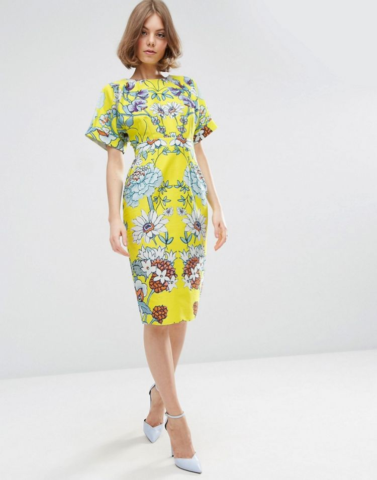 Image Asos Wiggle Dress In Mirrored Floral Print