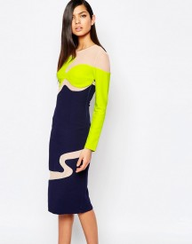 The 8th Sign Colour Block Pencil Dress With Mesh Inserts afbeelding