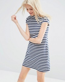 Asos A Line Shift Dress With High Neck In Stripe afbeelding