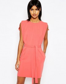 Asos Belted Mini Dress With Split Cap Sleeve And Pencil Skirt afbeelding