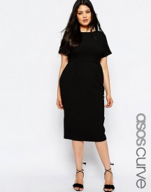 Asos Curve Midi Wiggle Dress In Texture afbeelding