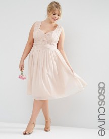 Asos Curve Wedding Midi Dress With Ruched Panel afbeelding