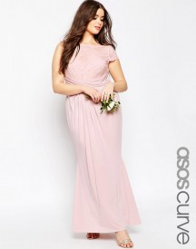 Asos Curve Wedding Pleated Maxi Dress With Lace Top afbeelding